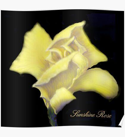 'Sunshine' Rose Digital Painting, Baroque Roses Poster