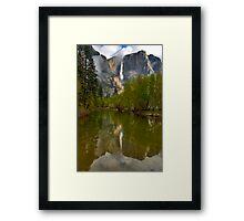 Yosemite Falls in Clouds Framed Print