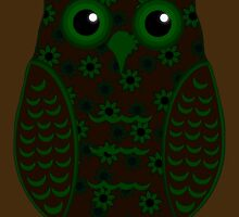 Green and Brown Floral Owl (on brown) by shaneisadragon