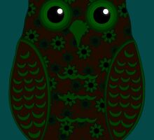 Green and Brown Floral Owl (on teal) by shaneisadragon