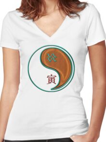 Aquarius & Tiger Yang Wood Women's Fitted V-Neck T-Shirt