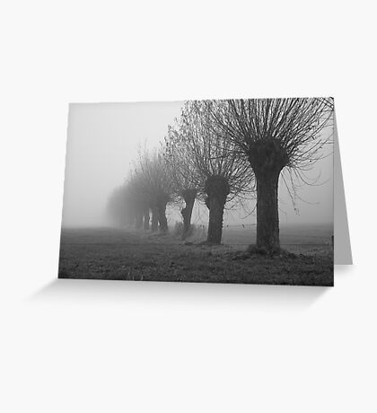 Knotted willows in misty land Greeting Card