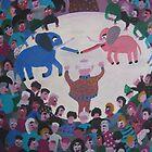 Elephants in the circus by Detlev  Jurkuhn