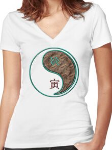 Aquarius & Tiger Yang Earth Women's Fitted V-Neck T-Shirt