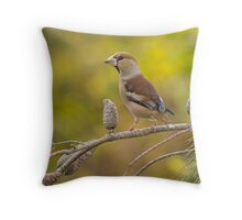 Hawfinch bird perched on a branch Throw Pillow