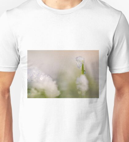 Young sapling covered in ice and snow  Unisex T-Shirt