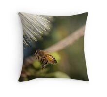 Bee In mid flight Throw Pillow