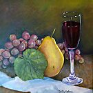 Grapes, Pear, and Wine by sally seabright