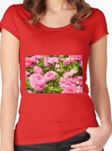 A field of pink cultivated Buttercup (Ranunculus) flowers Women's Fitted Scoop T-Shirt