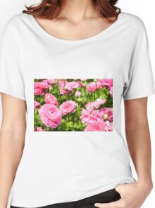 A field of pink cultivated Buttercup (Ranunculus) flowers Women's Relaxed Fit T-Shirt