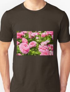 A field of pink cultivated Buttercup (Ranunculus) flowers T-Shirt