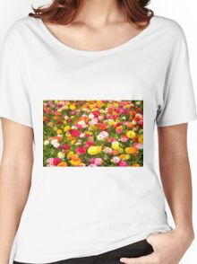 A field of multicolor cultivated Buttercup (Ranunculus) flowers  Women's Relaxed Fit T-Shirt