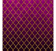 Chic pink gold faux glitter quatrefoil pattern Photographic Print