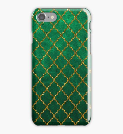 Chic Green Gold Trendy Quatrefoil Glitter Print  iPhone Case/Skin