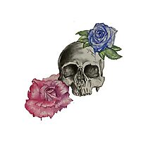 Watercolor roses with black skull Photographic Print