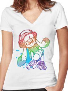 Squid Girl Women's Fitted V-Neck T-Shirt