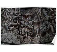 Temple Sculptures, Halebid, India Poster