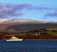 HMS Mersey heading upriver by Eddie Dowds