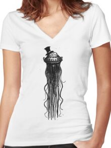 JELLYFISH WITH A TOP HAT - BY THE RURAL DRAWER Women's Fitted V-Neck T-Shirt