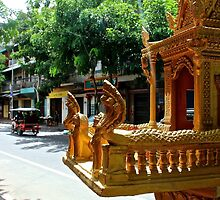 Khmer Altar in the street - Phnom Penh, Cambodia. by Tiffany Lenoir