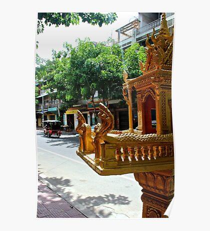 Khmer Altar in the street - Phnom Penh, Cambodia. Poster