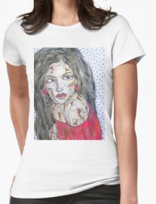 Woman In Red Dress Womens Fitted T-Shirt