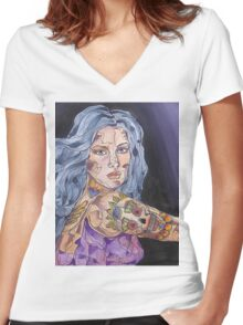 Big Tattoo Woman Women's Fitted V-Neck T-Shirt