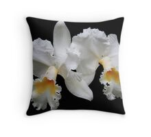 """Twin White Orchids"" Throw Pillow"