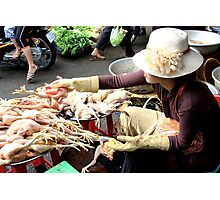 The Market Lady with a Hat - Phnom Penh, Cambodia. Photographic Print