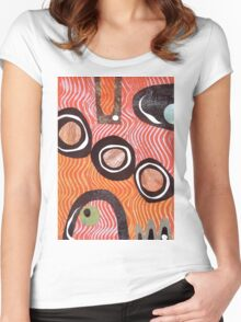Funky retro orange print Women's Fitted Scoop T-Shirt