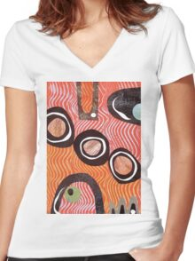Funky retro orange print Women's Fitted V-Neck T-Shirt
