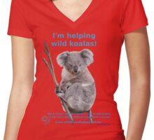 I'm helping wild koalas - Cloud Women's Fitted V-Neck T-Shirt