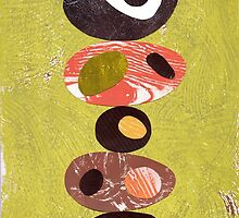 Orange lime green black white retro eames era art by bearoberts