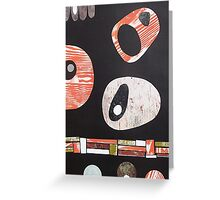 Black white orange lime retro atomic Greeting Card