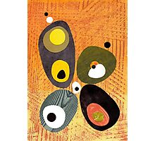 Orange mid century style abstract illustration citrus colors  Photographic Print
