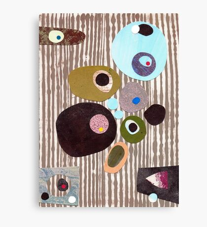 Retro striped abstract mid century inspired collage art  Canvas Print