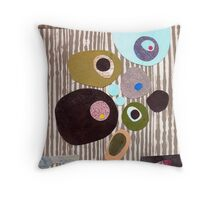 Retro striped abstract mid century inspired collage art  Throw Pillow