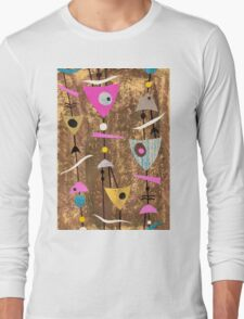 Funky abstract mid century style pink colourful Long Sleeve T-Shirt