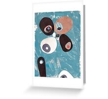 Teal Based Retro Abstract Collage Greeting Card