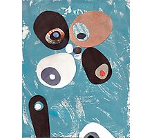 Teal Based Retro Abstract Collage Photographic Print
