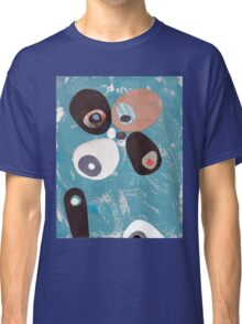 Teal Based Retro Abstract Collage Classic T-Shirt