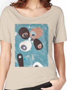 Teal Based Retro Abstract Collage Women's Relaxed Fit T-Shirt