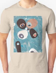 Teal Based Retro Abstract Collage Unisex T-Shirt