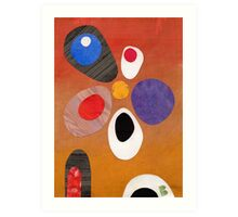 Warm rich colour abstract retro styling painting collage Art Print