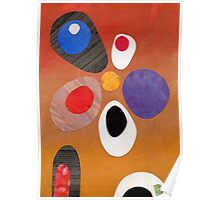 Warm rich colour abstract retro styling painting collage Poster