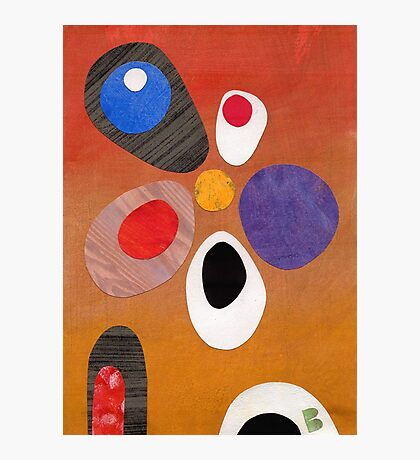Warm rich colour abstract retro styling painting collage Photographic Print