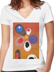 Warm rich colour abstract retro styling painting collage Women's Fitted V-Neck T-Shirt