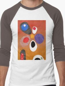 Warm rich colour abstract retro styling painting collage Men's Baseball ¾ T-Shirt