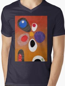 Warm rich colour abstract retro styling painting collage Mens V-Neck T-Shirt