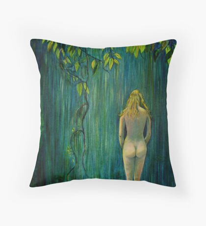 Nude by Waterfall Throw Pillow